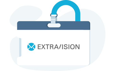 Digital illustration of a lanyard with the Extravision logo showing on the badge